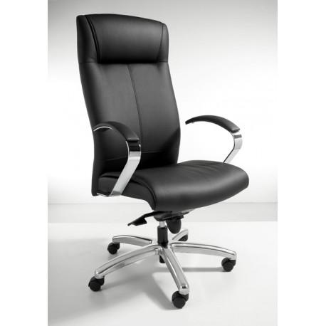 Directiefauteuil in zwart leather look